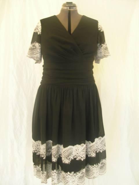 Společenské šaty černo bílé  šifón s krajkovou bondurou f935e6745c
